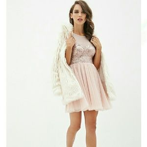 Champagne Blush Sequin Tulle Sweetheart Dress